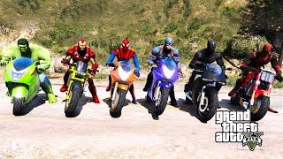 SUPER HEROES Jumping In The Grand Canyon Spiderman with the SUPER Motor Cycles Challenge- GTA V MODS