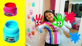 Masal and Öykü Learn Colored Finger Paints - Fun Kids Video