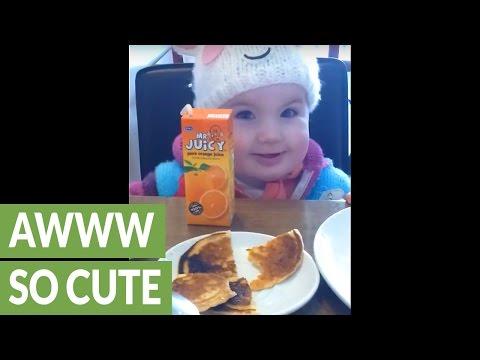 キランッ!?赤ちゃんのカメラ目線に笑顔になること必至な映像