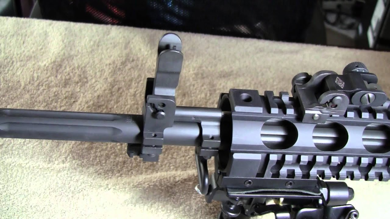yankee hill machine gas block with flip up hooded front sight