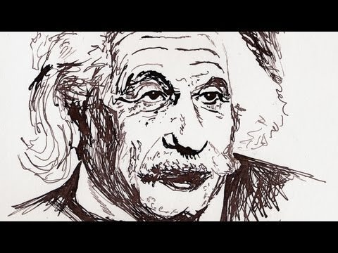 Drawing with ink: Albert Einstein