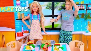 Barbie Doll New Kitchen & Play Doh Cooking for Ken!