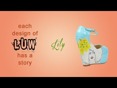 LILY - fashion illustration, design shoes, handmade, floral, colorful wedge platforms | LUW®