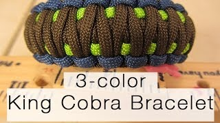 How To Make A King Cobra Paracord Bracelet (3-color!)