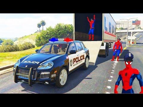 Spiderman Disney Cars Lightning McQueen Transport Police Smart (Cartoon For Kids)