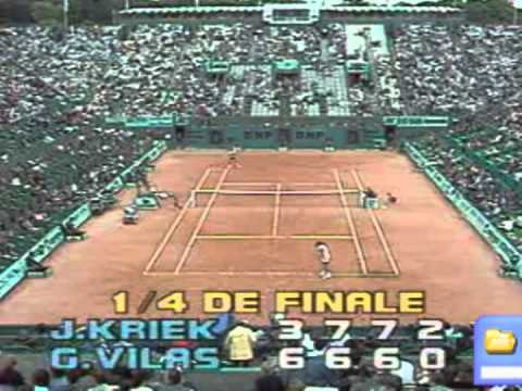 Johan Kriek beats Guillermo Vilas - Roland Garros 1986 Quarter Final / Set 3 & 4