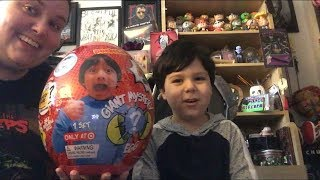 Sean opens a giant mystery egg from Ryan's Toy Review