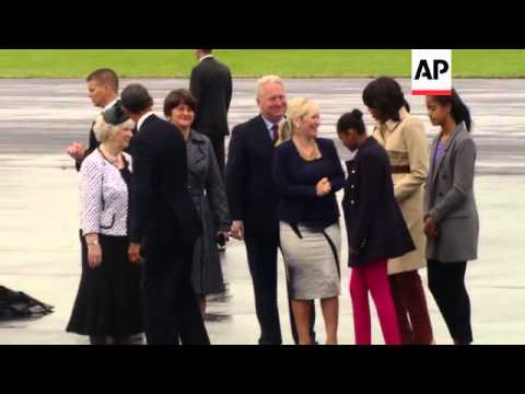 President Obama arrives in Northern Ireland for G8 meeting