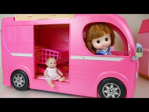 Baby Doli and pink camping car toys baby doll play