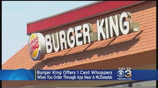 Burger King Offers 1 Cent Whoppers When You Order Through App Near McDonalds