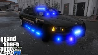 GTA 5 LSPDFR Police Mod 128 | SAHP 2009 Dodge Charger Highway Patrol Lit Up Like A Christmas Tree