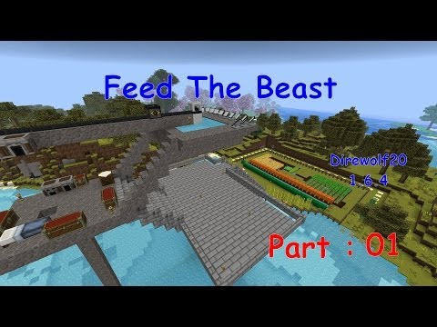 Minecraft - Direwolf20 1.6.4 FTB modpack - Part 01 - First day, tools and shelter