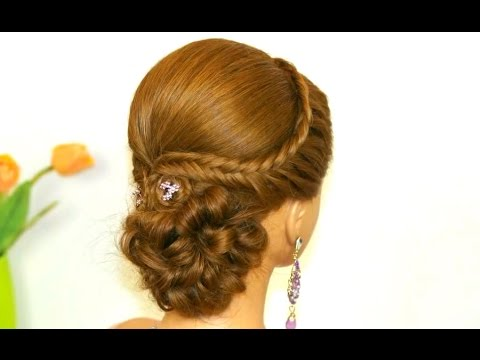 Easy prom hairstyle for long hair. Bridal updo.