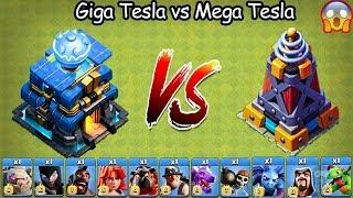 Giga Tesla vs Mega Tesla Clash of  Clans Ultimate   Max Giga Tesla vs Max Mega Tesla COC