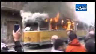 بالفيديو.. حرق ترام النزهة بالإسكندرية
