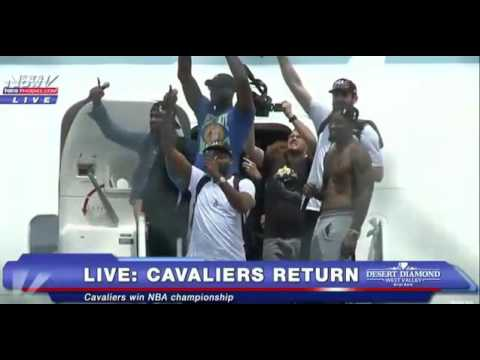 Cleveland Cavs come home after winning NBA Championship 2016 Champs