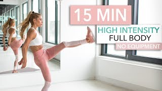 15 MIN FULL BODY HIIT WORKOUT - burn lots of calories / No Equipment I Pamela Reif