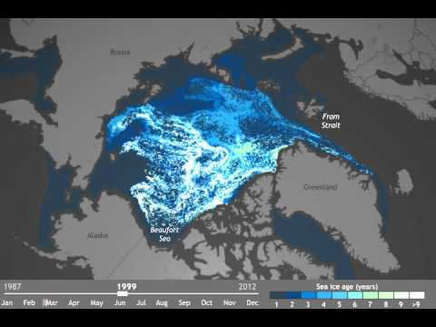 Loss of multi-year Arctic sea ice, 1987-present