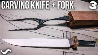 MAKING A STAINLESS DAMASCUS CARVING KNIFE AND FORK!!! Part 3