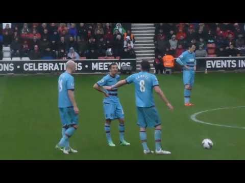 Andy Carroll Free Kick Goal - Southampton vs West Ham (13/04/13)