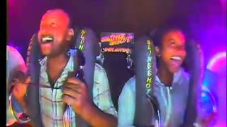 Funny reaction from East African father-daughter on the slingshot ride
