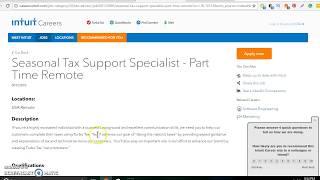 Seasonal Tax Support Specialist - Part Time Remote Turbo tax