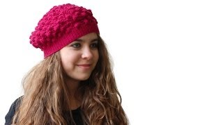 PINEAPPLE STITCH BERET -  Crocheted Lace Bobble Beret