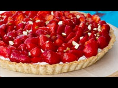 This decadent tart with it's almond crust, strawberries and ricotta ...