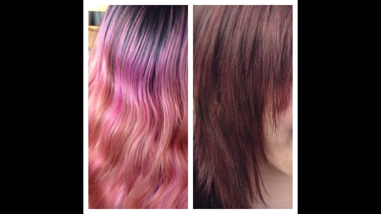 Dark blonde and pink hair