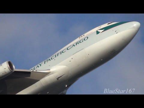 Cathay Pacific Airways Cargo Boeing 747-400F (B-HUO) takeoff from AMS/EHAM (Schiphol) 24