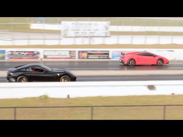 Ferrari 599 vs Lamborghini LP570-4 Super Trofeo Stradale Drag Racing 1/4 Mile