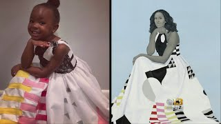 Little Girl Parker Curry Obsessed With Michelle Obama's Portrait Dressed As Her For Halloween