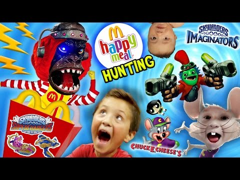 SHOCKING KIDS! McDonalds Happy Meal Toys Hunting, Skylanders Imaginators, Netflix & Chuck E. Cheese