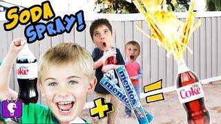 DIET COKE  and Mentos Science Experiment! Kids Play in Yard HobbyKidsTV