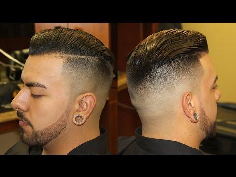 Slicked Back Pompadour With Bald Fade Pomp Scissor