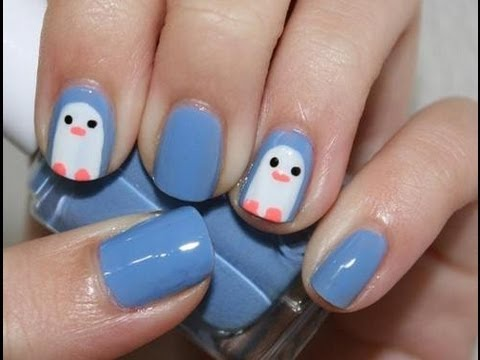 Cute Easy Penguin Nail Art |