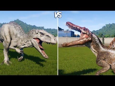 Jurassic World Evolution - INDOMINUS REX vs SPINOSAURUS -  Gameplay (PS4 HD) [1080p60FPS]