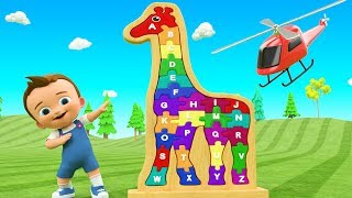 Little Baby Fun Learning Alphabets with Giraffe Wooden Toy Set - ABC Songs for Children Kids Rhymes