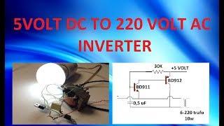 el yapımı 5 volt dc beslemeli invertör- 5volt to 220 volt ac 10 watt
