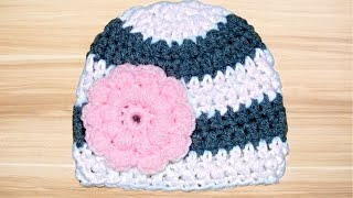 Crochet Baby 0-3 Months Old Hat Tutorial - Crochet Jewel