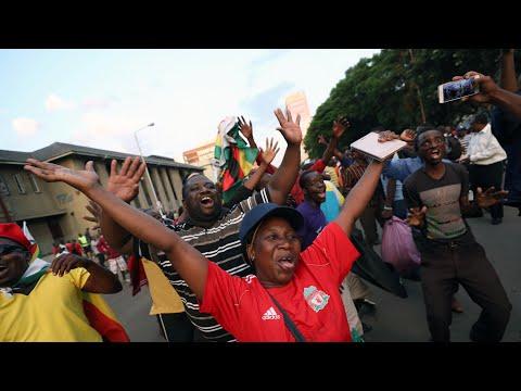 Zimbabweans celebrate Robert Mugabe's resignation