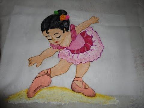 Pintura em tecido - bailarina
