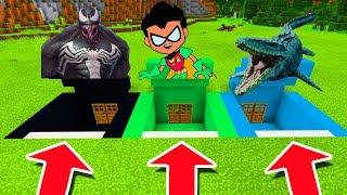 Minecraft PE : DO NOT CHOOSE THE WRONG SECRET BASE! (Venom, Teen Titans Go & Mosasaurus)
