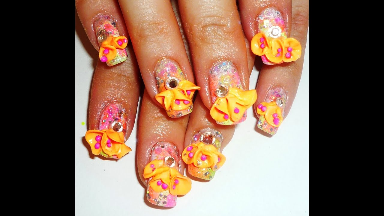 3D Bell Flowers Nail Art Design - YouTube