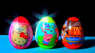 STAR WARS * PEPPA PIG * HELLO KITTY * Surprise Eggs! Unboxing 3 eggs surprise for Kids