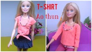 DIY How To Make Barbie T-shirt / May đồ cho búp bê: 2 áo thun xinh xắn đơn giản / Ami DIY