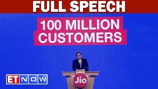 Jio Crosses 100 Million Customers In 170 Days Confirms Mukesh Ambani | Full Speech