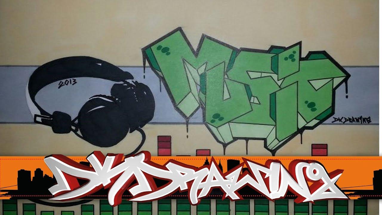 graffiti letters drawing music headphones youtube