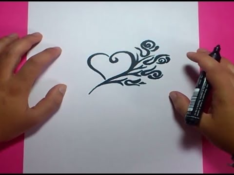 Como dibujar un corazon paso a paso 5 How to draw a heart 5
