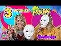 3 MARKER MASK CHALLENGE! Fun DIY Masks con 3 COLORES Doble Twins
